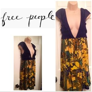 Free People dress w floral velour skirt lace top